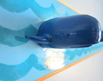 Upcycled Toy Wall Peg Rack with Whale Clothes Hooks
