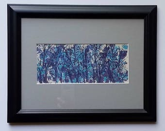 Small Original Acrylic and Ink Painting - Abstract of Trees