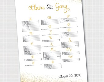 Elegant Wedding Seating Chart | Gold & Black | Gold Confetti Seating Chart {Digital File}   |  Printable Seating Plan Poster, Seating Board