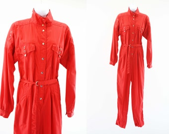 Vintage Jody California One Piece Cherry Red Button Up Self Tie Dolman Long Sleeve Retro Cotton Jumpsuit Flight Suit One Piece Jumper
