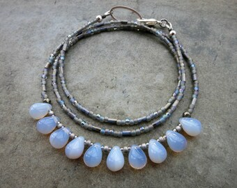 Periwinkle Glass Drop Necklace, milk glass or opal glass droplet necklace in light blue and silver gray, rustic yet elegant