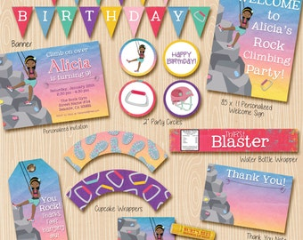 Rock Climbing party invitation and party decorations. Invitation included. Brown skin climber.