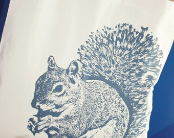 Squirrel Tote Bag in Gray, Cotton Tote Bag, Squirrel Tote, Tote
