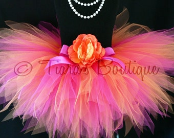 "Girls Tutu Skirt - Birthday Tutu - Orange Pink Tutu - Shine - Custom Sewn 8"" Pixie Tutu - Fuchsia Orange - up to 12 months - Photo Prop Tutu"