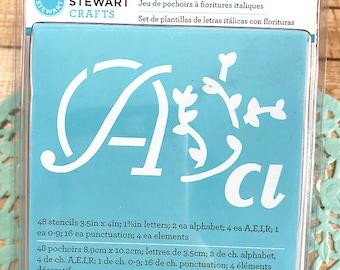 Upper case stencil etsy martha stewart italic flourish stencil set 48 stencils numbers upper and lower case spiritdancerdesigns Choice Image