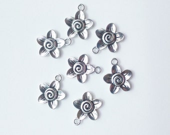 7x silver flower pendant 22 mm charm findings supplies