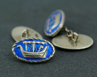 Viking longboat cuff links Celtic, blue enamel and silver hallmarked mid century men's accessories AH Darby & Son, Iona Scottish Norse ships