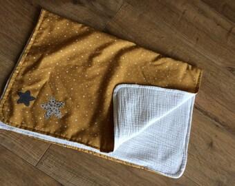 baby Swaddle blanket, yellow gauze liberty of london