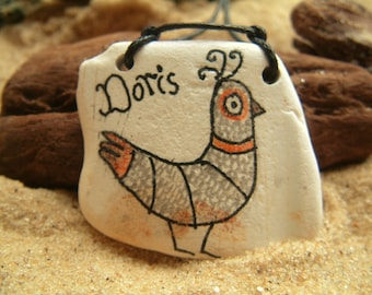 Bird Necklace | Beach Pottery | Surf Tumbled | Unique | Hand drawn | Gift | Cute