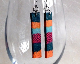 Orange Green Hanji Paper Earrings OOAK Patchwork Coral Red Grey Dark Green Boho Earrings Hypoallergenic hooks Dangle Earrings Lightweight