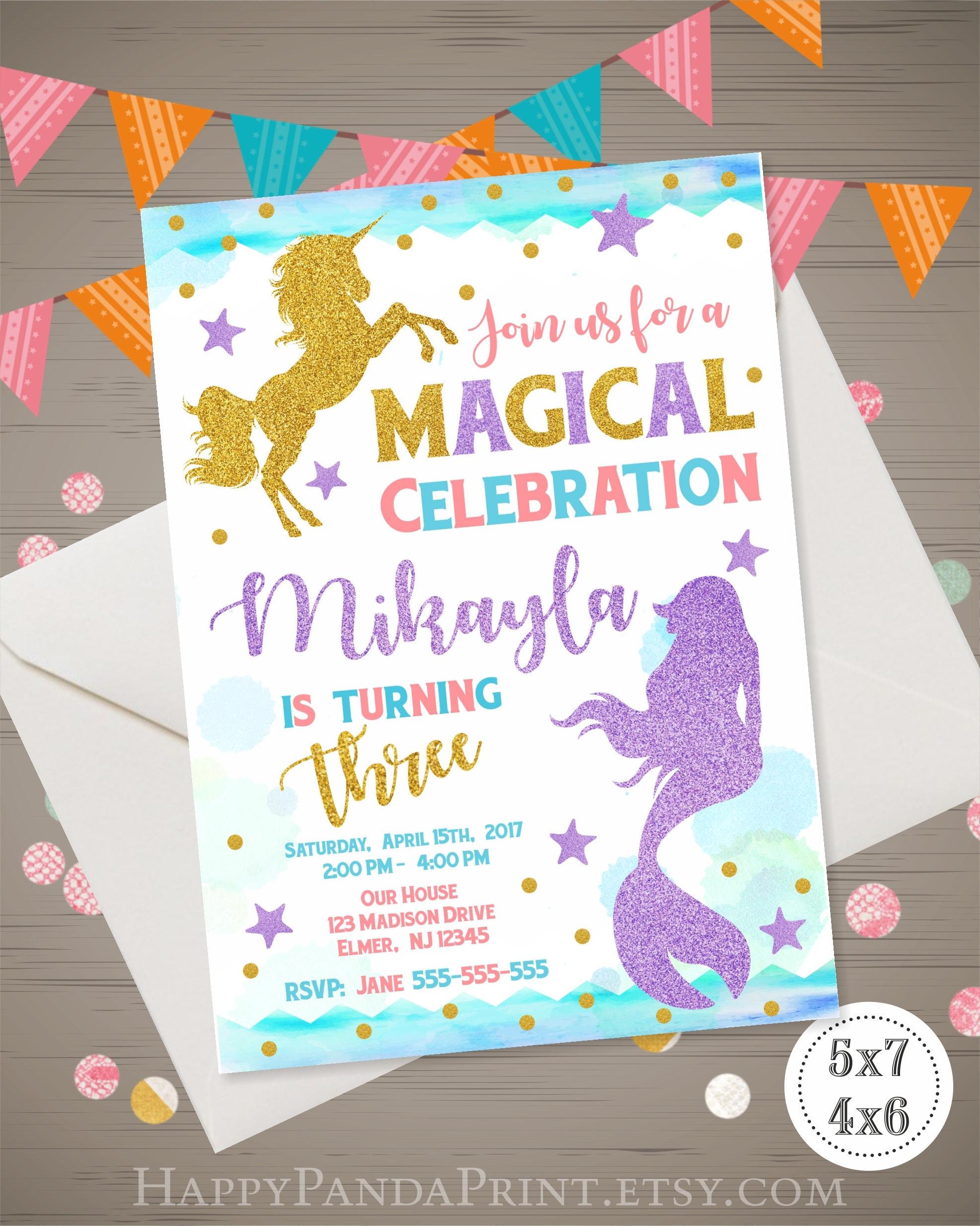 Unicorn Mermaid Birthday Invitation Magical Invitation Mermaid