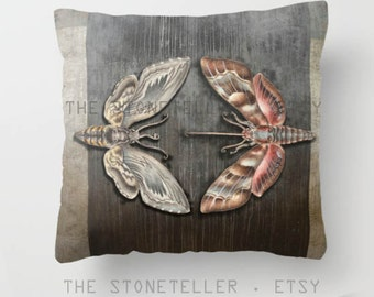 """Throw Pillow Cover  with pillow insert Indoor.PRINT. animal, art, woodland - fine -living , childrens room,  """" The circle of the moths """""""""""""""