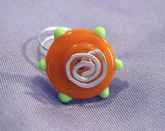 Orange and lime green art glass wire wrapped  ring   size 8 1/2