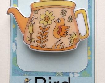 Orange Retro Teapot Pin Brooch