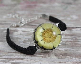 Sunny Yellow Flower Dome Bracelet