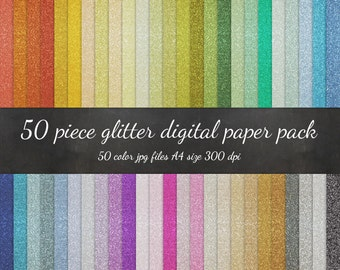 Digital A4 Paper - 50 Piece Glitter A4 Paper Pack - Sparkly Glitter Scrapbook Paper Gold Silver Background Texture Pattern Scrapbook Paper