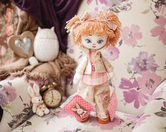 "Doll Making Kit, Set for sewing doll, Textile doll ""Sonia"", Set for textile doll, Handmade doll, Sewing kit"