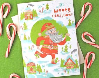 Santa Christmas Village Note Card Set, 10 cards