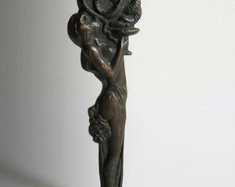 Bronze paper knife with sculpture - Art nouveau