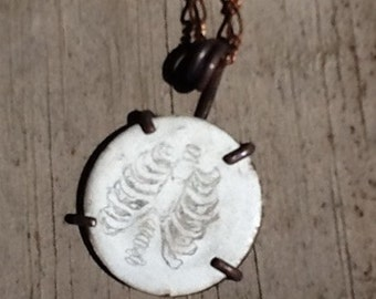 "Ribcage Skeleton Medical Illustration Drawing on White Enameled Copper Disk 22mm 7/8"" Oxidized Copper Pendant Necklace"