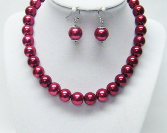 12mm Red Glass Pearl Choker Necklace & Earrings Set (15 Inch)