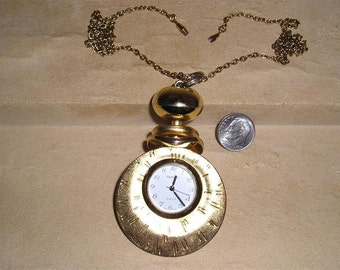 Vintage Signed Rumours Watch Necklace 1980's Jewelry 2292