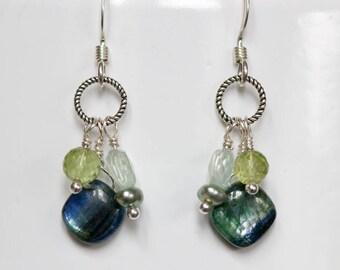 kyanite peridot aquamarine pearl dangle earrings gemstone jewelry silver earrings kyanite jewelry