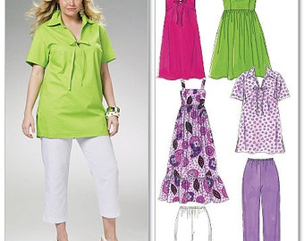 McCalls Sewing Pattern M6085 Women's Tops, Dresses, Shorts and Capri Pants