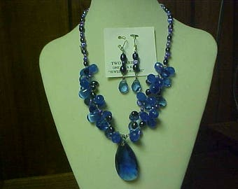 Handmade blueberry quartz necklace set - has matching ear rings with 925 lever backs