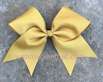 """Texas Sized 3"""" x 7 x 7 Gold Cheer Bow w/knotted Center"""