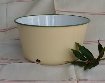 Vintage Enamel Bowl ~ Cream and Green ~ Food Photography Prop -Rustic Kitchenalia Farmhouse Kitchen