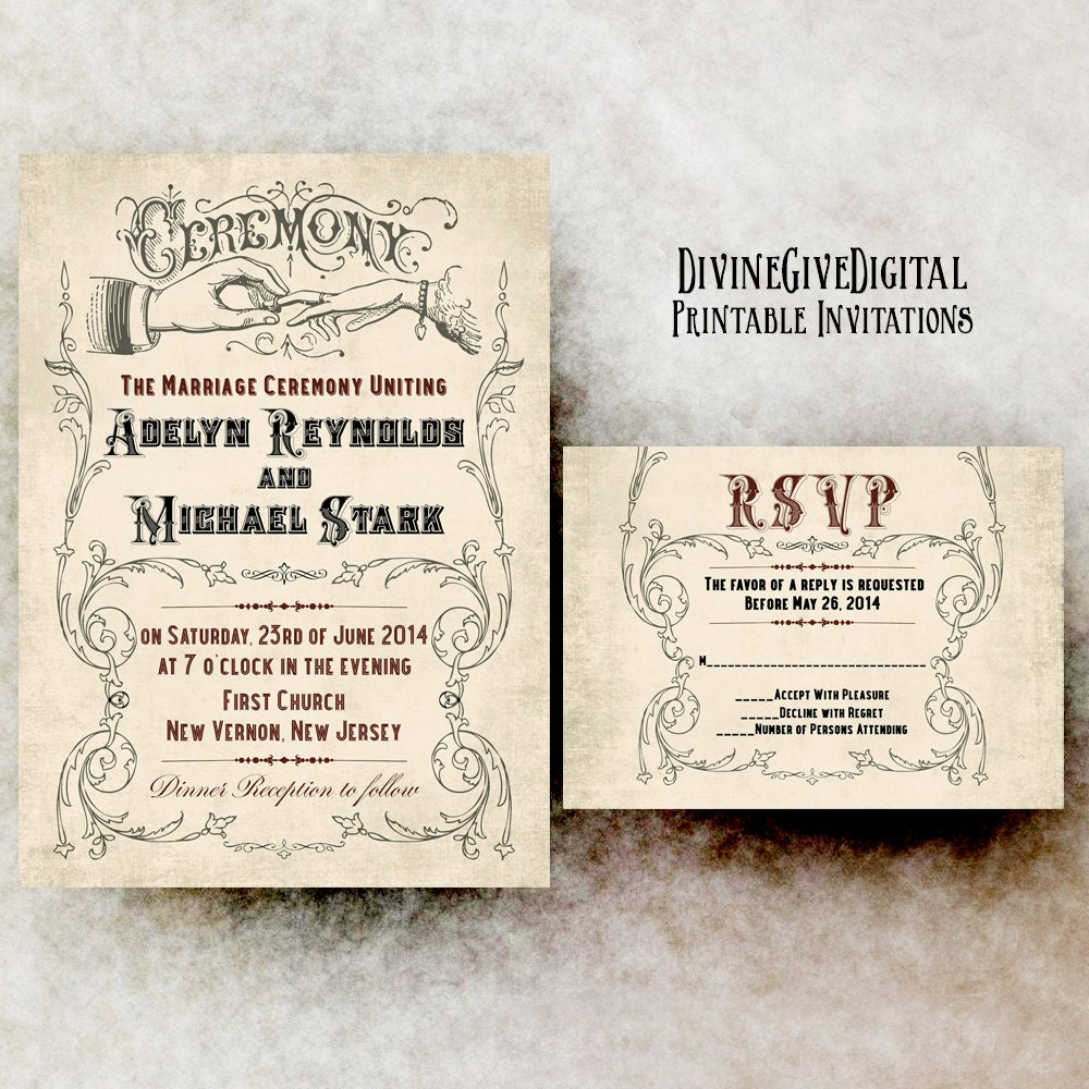 Vintage Wedding Invitation 1800s wedding invitation