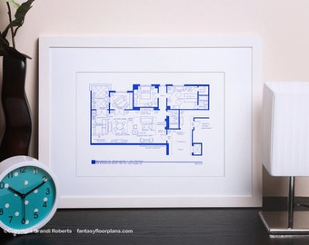 Will and Grace Apartment Floor Plan - TV Show Floor Plan  - BluePrint for Home of Grace Adler and Will Truman - Gift for Architects