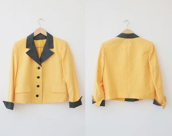 1980's Vintage Cropped Jacket, Honeycomb Yellow Crop Jacket with Polka Dot Detail
