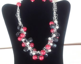 Crocheted wire necklace and Earring set in Red, Black, Silver