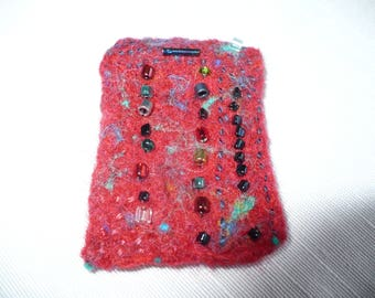 Red Felted Beaded Brooch