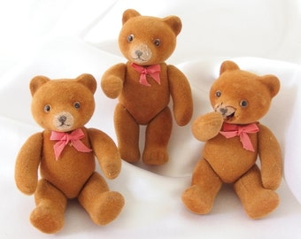 3 Vintage Flocked, Jointed Brown Bears with Christmas Bows