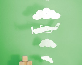 Airplane Mobile, White Crib Mobile, Baby Mobile, Clouds, Nursery Decor - Airplane and Clouds Mobile