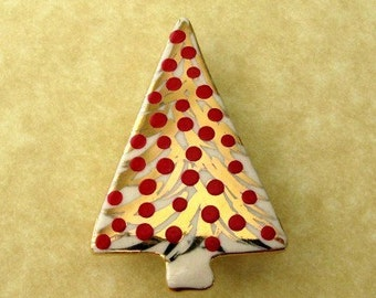 Christmas Tree Brooch  with Red Ornaments Handmade Porcelain Jewelry