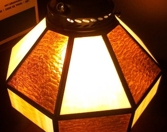 Vintage Amber Stained Glass Lamp Shade or Chandelier