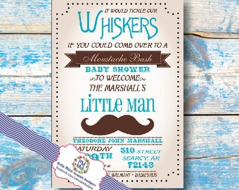 Moustache Baby Shower Invitations, tickle our whiskers, baby boy