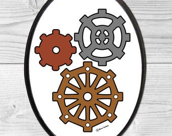 Steampunk Gears Small Wood Wall Plaque