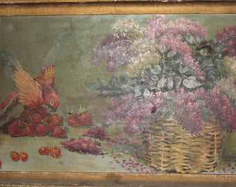 Antique oil painting still life strawberries, cherries, parrot & flowers signed