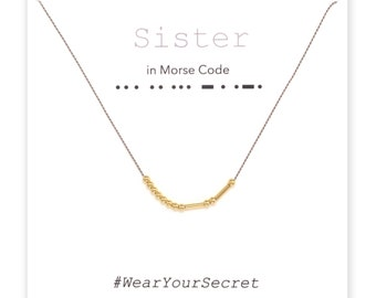 Sister necklace or bracelet, Unique Gift, secret message necklace, Morse Code, Gifts for Women, Graduation gift, Mother's day