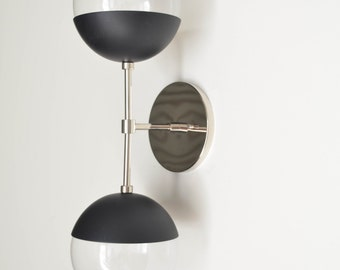Modern Brass Light - Duel modern Black + nickel  wall sconce with glass globes - Delphine