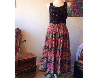 Authentic Vintage 1970s Austrian Floral & Polka Dot Peasant/Folk Dress size 10-12 - Gypsy - Boho - Hippie - Lindy Hop - Swing Dress - Rockab