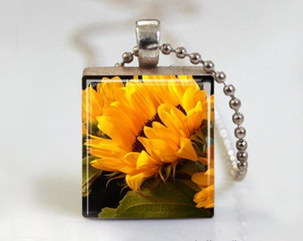 Yellow Sunny Sunflower Flower - Scrabble Tile Pendant - Free Ball Chain Necklace or Key Ring