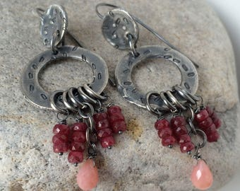Ancient Jewelry Ruby Earrings Statement Earrings Ancient Earrings Opal Earrings Boho Gemstone Earrings Silver Hoop Earrings Dangle Earrings