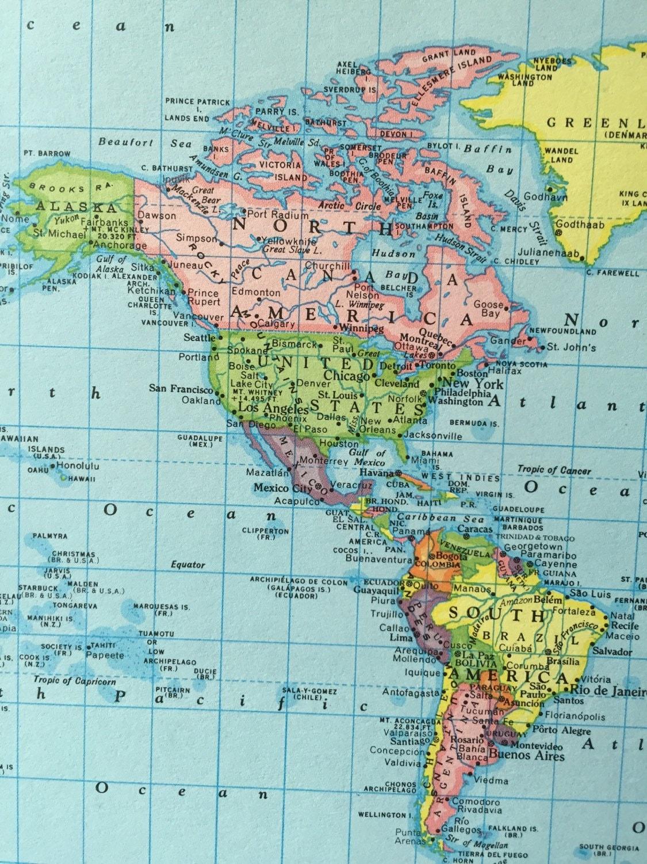 Vintage 1967 rand mcnally world atlas map page polar map on one sold by greenbasics gumiabroncs Choice Image