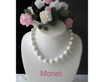 White Bead Necklace * MONET * Classic Vintage